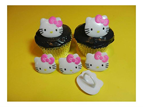 12 Hello Kitty Rings Cupcake Toppers Cake Decorations Party (Hello Kitty Cupcake Rings)