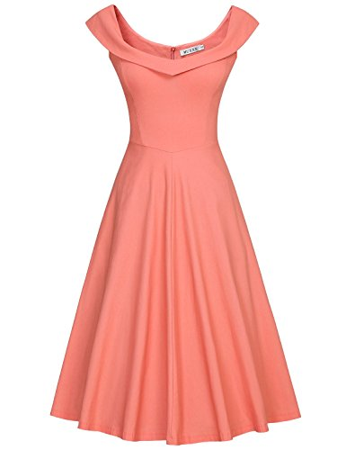 MUXXN Womens 1950s Scoop Neck Off Shoulder Cocktail Dress(L,Pure Peach) by MUXXN