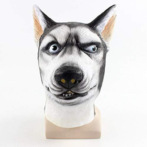 Jeash Cosplay Siberian Husky Dog Mask Creepy Animal Head Latex Mask for Halloween Prop Masquerade Party (Black)