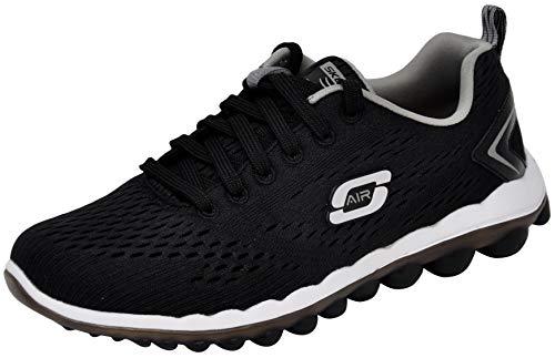 Skechers Sport Women's Skech Air Run High Fashion Sneaker, Black/Grey, 10 M US
