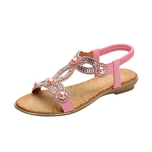 (chengzhijianzhu Women's Sandals Bling Crystal Peep Toe Flats Slip-On Flip-Flops Slides Basic Slingback Beach Slippers Shoes)