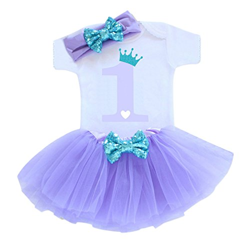 Baby Girls 1st Birthday Cake Smash 3pcs Outfits Set Cotton Romper Bodysuit+Tutu Dress+Flower Headband Princess Skirt Clothes Lavender One Size -