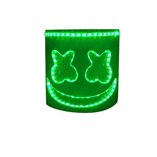 MZS Tec DJ Mask, dj Marshmello Mask Led dj Mask Christmas Halloween Party Props EVA Bar Mask ()