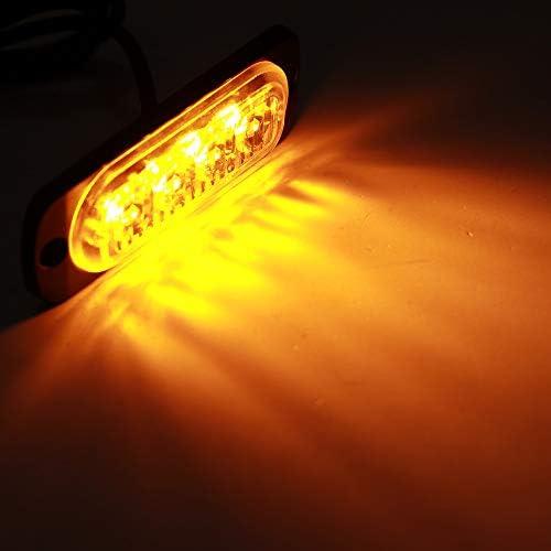 blanc froid Feux Davertissement de Voiture 4LEDs Strobe Warning Light 12-24 V Urgence Lights Universal Clignotant Lumi/ères Pour Voiture V/éhicule Remorque Caravane