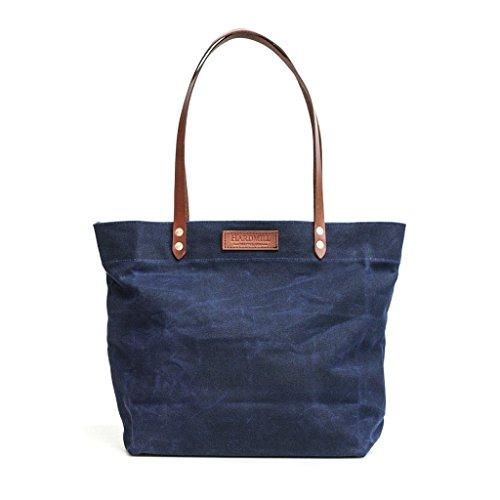 Market Tote - Waxed Canvas - Navy - Made in USA by Hardmill