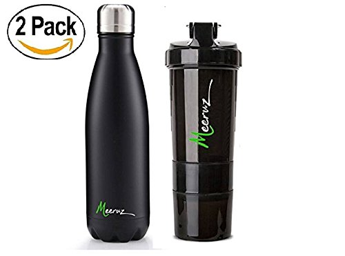 Meeruz Stainless Steel Water Bottle & Shaker Cup Bundle - Vacuum Sealed Double Walled Bottle & Quality Shaker Cup w/ Pill Slots and Protein Powder Holder