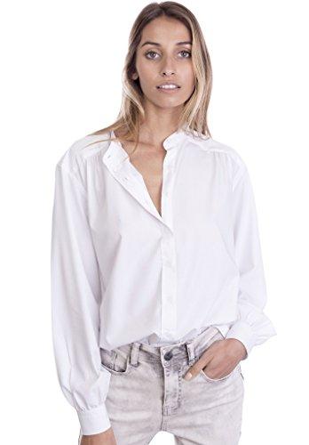 CAMIXA Women's Boho Soft Oversized Peasant Chic Shirt Look Romantic L White (Cotton Gathered Blouse)