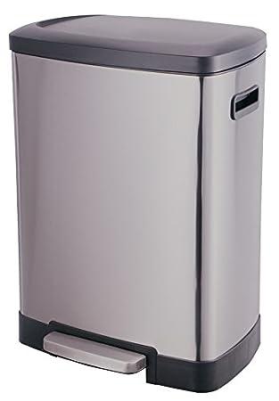poubelle cuisine grande contenance en inox - 50 litres - ouverture ... - Grande Poubelle Cuisine