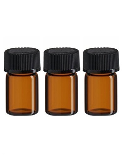 3 ml Amber Glass Essential Oil Bottle with Orifice Reducer and cap (25pcs)