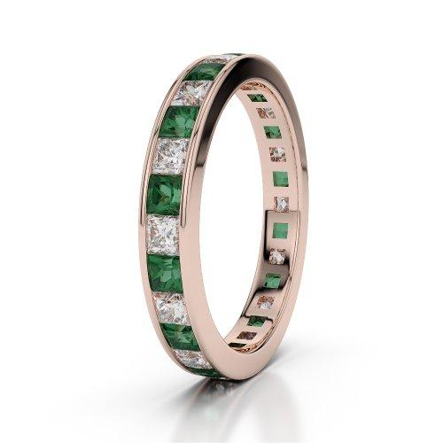 Or Rose 18carats 2ct G-H/VS sertie de diamants ronds découpé Émeraude et bague éternité Agdr-1133