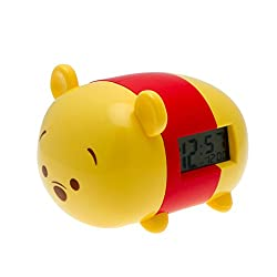BulbBotz Disney Tsum Tsum Winnie the Pooh Kids Light Up Alarm Clock | yellow/red | plastic | 7.5 inches tall | LCD display | boy girl | official