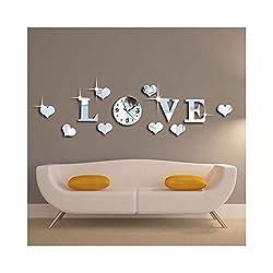 Alrens_DIY(TM) Silver Creative Love Heart Boutique Store Art DIY Acrylic Non-Ticking Quiet Quartz Wall Clock Watch Removable 3D Crystal Mirror Wall Clock Wall Sticker Home Decoration
