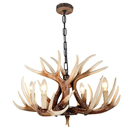 EFFORTINC Vintage Style Resin Deer Horn Antler Chandeliers,4 Lights(Bulbs Not Included)