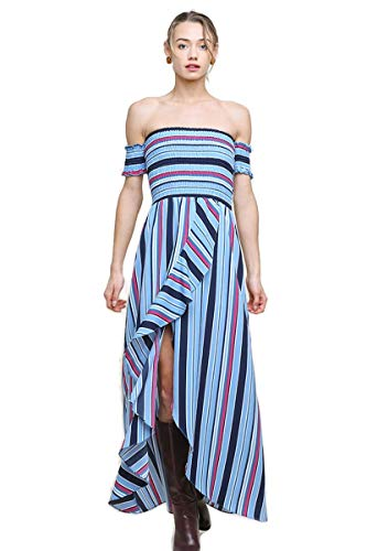 Umgee Women's Striped Smocked Ruffle Tulip Maxi Dress (Small, Blue Mix)