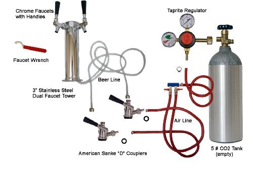Tower Kegerator Kit Draft Beer Stainless Steel 2 Tap (Kegerator Kit Dual Tap compare prices)