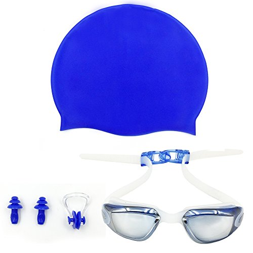 iGopeaks Kids Swim Goggles for Children and Early Teens from 3 to 13 Years Old with Cap, Nose Clip and Ear Plugs - No Leaking - Anti-Fog - Shatterproof - UV Protection - Blue