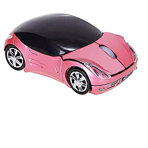 Usbkingdom 2.4GHz Wireless Mouse Cool 3D Sport Car Shape Ergonomic Optical Mice with USB Receiver for PC Laptop Computer Kids Girls Small Hands (Pink) (Computer Mouse Wireless Cool)