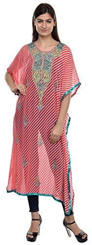 The MadhuSudan Gallery Georgette Kashmiri Embroidered Lehriya Kaftan Boho Maxi Dress Hippie Beach wear Overcoat Top ()