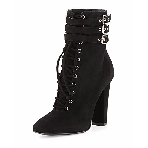 071703 TLJ Damen Party Black Runde KJJDE Heels Zehe Pumps Stiefel 39 Stiefel Blockabsatz Schnürsenkel High 0qx4wCH