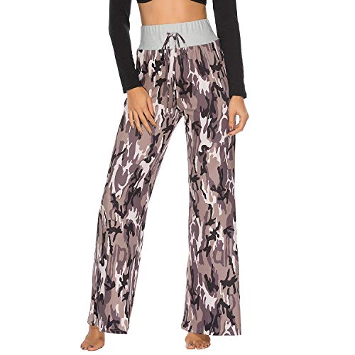 FITTOO Women Camouflage Print Lounge Pants Wide Legs Comfy Palazzo Pajama Pants Drawstring Camouflage S