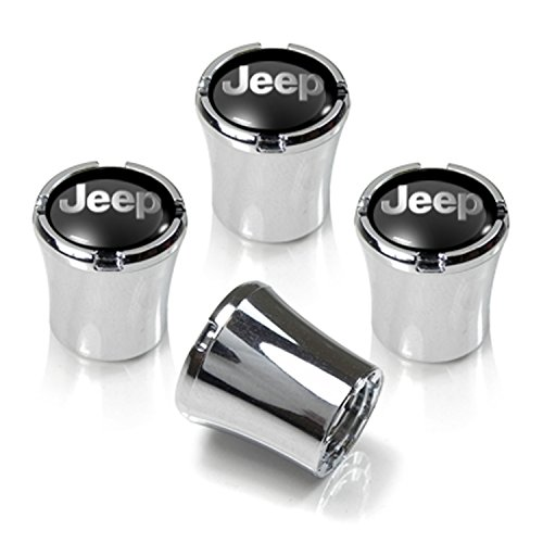 Jeep Black Name Chrome Tire Stem Valve Caps, Official Licensed