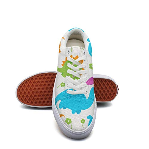 GirlColorful Pop Dinosaur Party Canvas Shoes Low-Cut Straps Classic Sneakers Suitable for Walking