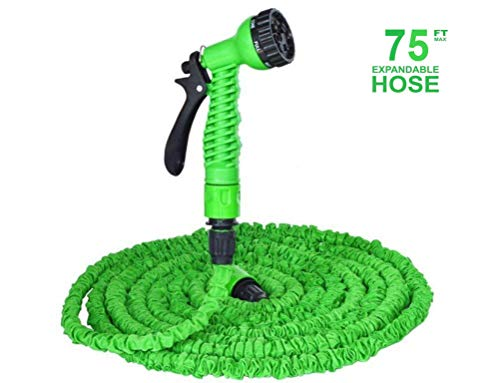 Yannhon Expandable Garden Hose, 75ft Strongest Expanding Garden HoseNo Leakage Durable 6 Function Spray Nozzle Extra Strength Fabric Protection for All Your Watering Needs(Color:Green)