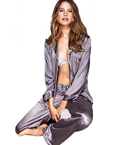 Lonxu Womens Silk Satin Pajamas Set Gray M