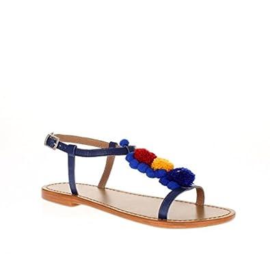 Tongs Bleu 38 Leane Taille Calank Sandales m0wN8n