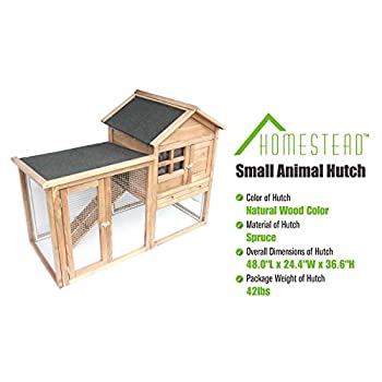 Image of Homestead 86-438 Solid Spruce Wood Easy to Assemble Small Animal Hutch with Heavy-Duty latches and an Asphalt roof, Assembled Dimensions 48.0'X24.4'X36.6',Natural Pet Supplies