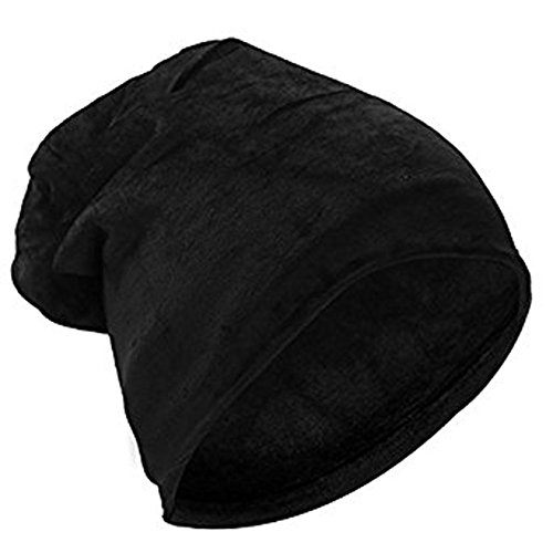 Dream Amy Super Soft Warm Flannel Slouchy Beanie Hat Unisex Trendy Winter Autumn Spring Caroset Cap For Men and Women (Black) (Soft Flannel Pull)