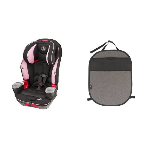 Evenflo Evolve 3-in-1 Combination Seat, Pink Daisies with Car Seat Kick Mat with Storage Pocket, Black