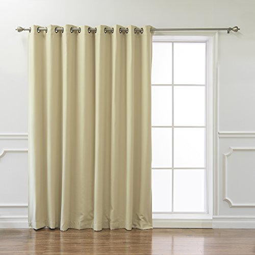 "Best Home Fashion Wide Width Thermal Insulated Blackout Curtain - Antique Bronze Grommet Top - Beige - 100""W x 84""L - (1 Panel)"