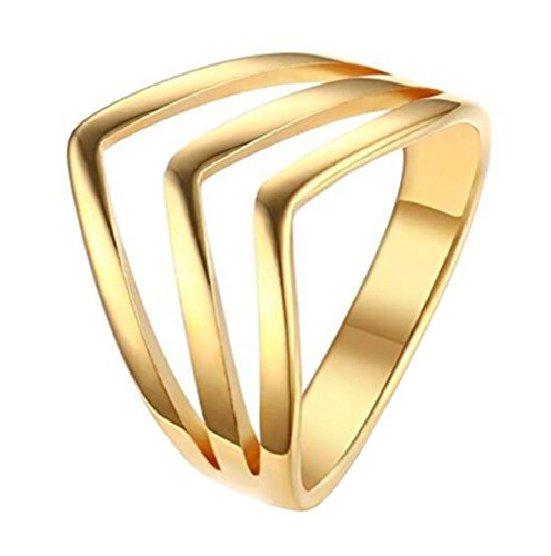 Gold V-shaped Ring Ring - HIJONES Women's Stainless Steel Triple Chevron Ring V Shaped Stackable Wedding Band Gold Size 8