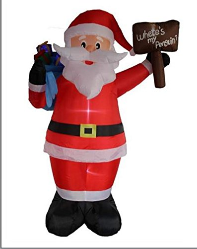 8FT Inflatable Santa with Sign and Gift Bag Indoor Outdoor Christmas Decorations