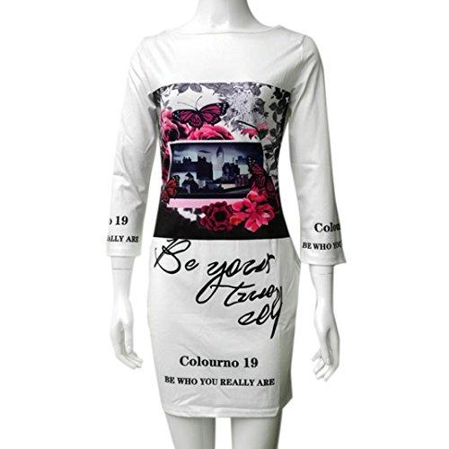 Transer ® Mode féminine été Polyester Trois quarts manches épaule irrégulière casual fleurs sexy Robe imprimée Blanc(S-L)