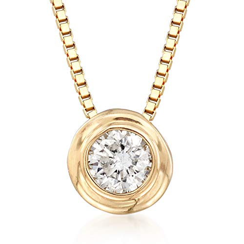 Ross-Simons 0.12 Carat Double Bezel-Set Diamond Solitaire Necklace in 14kt Yellow Gold