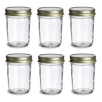 Mason Jars >> Amazon Com Nakpunar 6 Pcs 8 Oz Mason Jars With Gold Lids For Jam