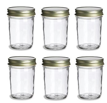 Nakpunar 6 pcs, 8 oz Mason Jars with Gold Lids for Jam, Honey, Wedding Favors, Shower Favors, Baby Foods, Canning, spices, Half Pint