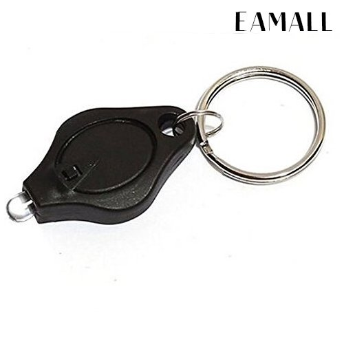 Eamall 10 Pack 22000mcd Mini LED Flashlight Torch Light Lamp Keychain( Black)