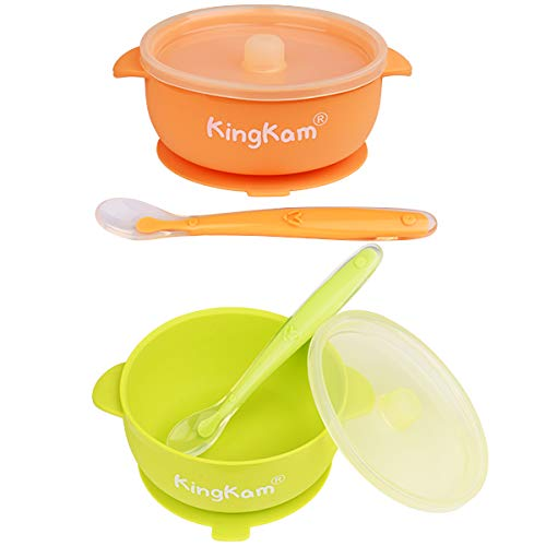 2 Pack Baby Bowls, Best Suction Bowls for Baby Toddler self-Feeding, 100% Safe Leak-Proof Silicone Bowl with Lid, Disheasher & Micromave Safe