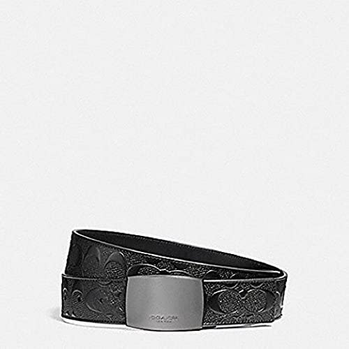 Black//Black Coach Plaque Cut to Size Reversible Signature Crossgrain Leather Belt