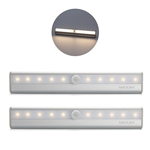 MAXAH® 2x Sensor Lampe 10 LED Beleuchtung PIR Automatische LED-Lichtleiste Bewegungsmelder Kabellose Infrarot-Lichterfassung für Schrank Schubladenschrank Treppe Nachtlicht Wandleuchte mit Magnetstreifen (Batterien erforderlich,Warmweiß)