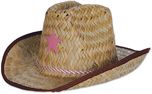 Beistle Child Cowboy Hat with Star and Chin Strap, Multicolor (Cowboy Hats Fancy Dress)
