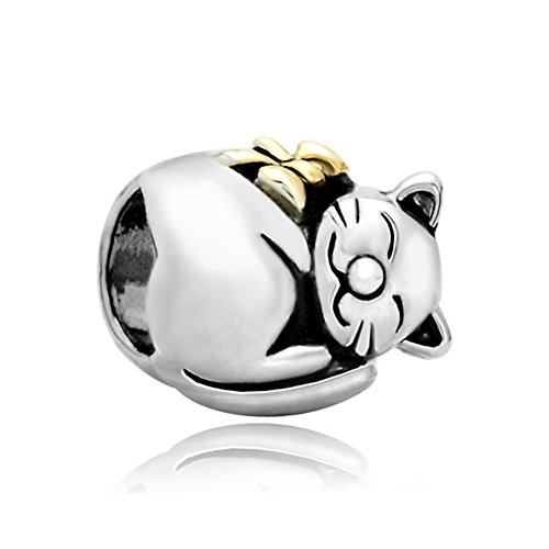 - Q&Locket 925 Sterling Silver Lucky Cat Charm Animal Bead for Bracelet
