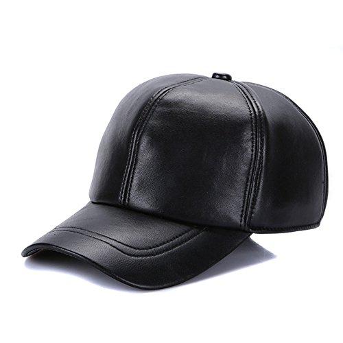 Sandy Ting Leather Baseball Cap Cool Hats Adjustable Unisex Ball (Genuine Leather Baseball Cap)