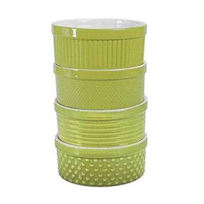 Texture Souffle Dish [Set of 4] Color: Chartreuse/White