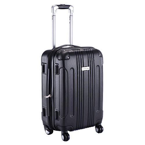 Goplus GLOBALWAY Expandable 20″ ABS Carry On Luggage Travel Bag Trolley Suitcase (Black)