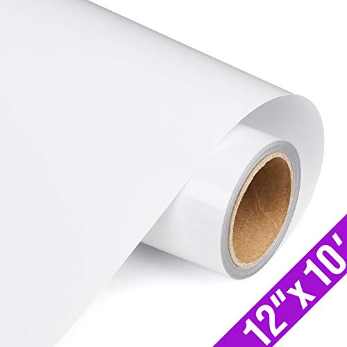 TransWonder Premium Heat Transfer Vinyl HTV Rolls for T Shirts 12in.x10ft., Iron on HTV Vinyl Compatible with Cameo Silhouette & Cricut (White)