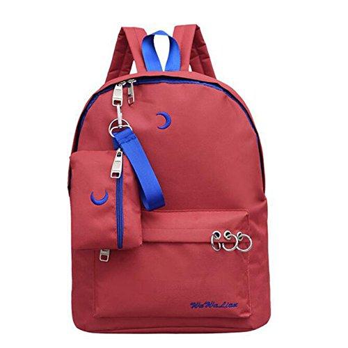Espeedy Diseño de marca de alta calidad impermeable cremallera mochila escuela bolsa para adolescentes mochila bordado Luna mochila viajar rojo